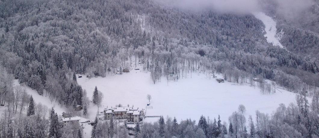 panorama invernale da rifugio Valle del drago
