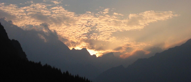 Il tramonto dal rifugio