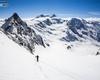 In primavera, la salita al Gran Zebrù, è sicuramente la più ambita da tutti gli scialpinisti che arrivano da vari paesi europei. Sullo sfondo il monte Cevedale